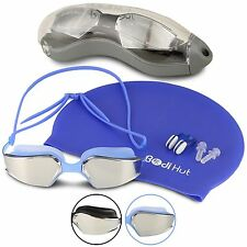 Swimming Goggles & Swim Cap Plus Ear Plugs & Nose Clip + Storage Case (Blue)