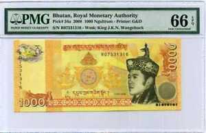 BHUTAN 1000 NGULTRUM 2008 P 34 GEM UNC PMG 66 EPQ NR