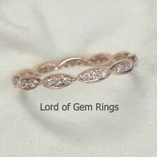 Full Eternity Art Deco Milgrain Pave Diamonds 14K Rose Gold Wedding Band Ring