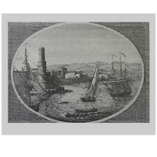 Vernet - Vue du Port Royale -  Large vintage lithoprint