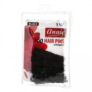 """ANNIE 100 PCS HAIR PINS  1 3/4"""" BLACK #3319 BALL TIPPED CRIMPED U-SHAPE"""