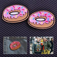2xDoughnut Donut Patch Iron Rockabilly Punk Simpsons Retro Kitsch Goth Applique