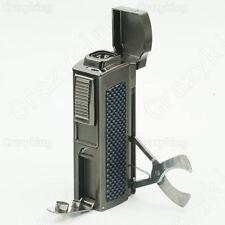 Cohiba Carbon Fiber Metal 4 Torch Jet Flame Cigar Lighter + Cutter 2 Punch #421