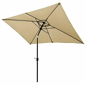 Rectangular Patio Umbrella 6.5 x 10 ft Outdoor 10 x 6.5 (Rectangle) Beige
