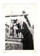Vintage Photo Handsome Sailor Navy Uniform Military Man Home Visit WW2 Pet Dog