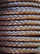 1 metro de cordón trenzado de cuero 6mm color MARRON.Leather,Leder,Pelle,Cuir
