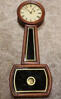 Antique 1865 George Hatch Weight Driven Early American Banjo Wall Clock