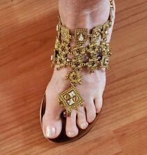 COLIN STUART Embellished Jeweled Thong Sandals SIZE 5B Chain Closure Gold Bronze