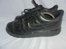 NIKE AIRFORCE 1 MEN BLACK LEATHER LACE UP TRAINERS SIZE UK 10 EU 45 VGC