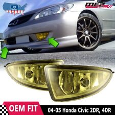 For Honda Civic 04-05 Factory Replacement Fit Fog Lights Wiring Kit Yellow Lens