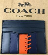 Coach Slim Card Case Holder Base Ball Stitch Leather Black Multi F77934 New