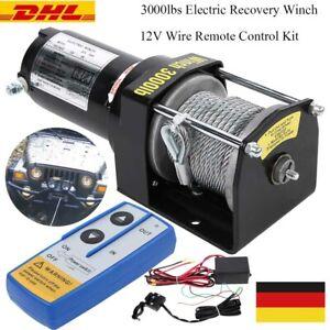 Elektrische Seilwinde 3000lbs 12V Winch Draht Fernbedienung Set für KFZ Anhänger