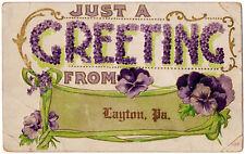 1907 Greetings From Layton PA Floral Purple Pansy Pansies Embossed DB Postcard