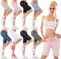 Italy Mujer Shorts Bermudas Baggy Corto Pantalón Chino Contraste Rayas Stretch