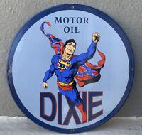 VINTAGE DIXIE SUPERMAN PORCELAIN SIGN GAS MOTOR OIL SERVICE STATION PUMP PLATE