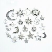 Lots 23 Mix Style Star Moon Sun Planet Charm Tibet Silver Pendant Bracelet Beads