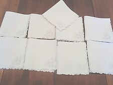 Collection of 9 matching 100% fine linen cocktail napkins Very High End