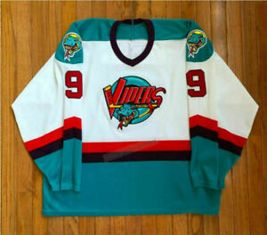 Men's Stitched Throwback Gordie Howe #9 Hockey Jerseys Detroit Vipers White