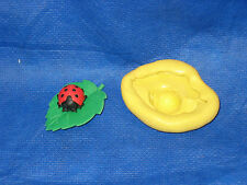 Lady Bug on Leaf  Mold Flexible Resin Clay Candy Food Safe Silicone #60