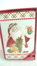 14 Pack CHRISTMAS CARDS Glittery Santa NEW IN BOX Holiday Greeting Cards