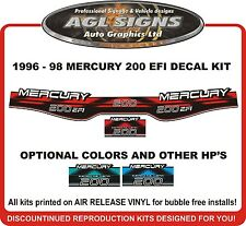 1996 1997 1998 MERCURY 200 EFI  Outboard Decal kit   150 225 hp also avail.