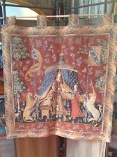STUNNING HIGH QUALITY, LADY AND THE UNICORN TAPESTRY WALL HANGING,32x33in. LARGE
