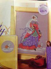 Joan Elliott Historical Lady In Red Westie Dog Card Christmas Cross Stitch Chart