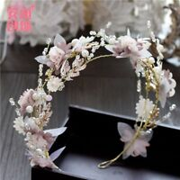 Pink Gorgeous Crystals Flowers Wedding Bridal Crown Tiara Bride Hair Accessories