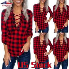 US Women V Neck Plaid T-Shirt Tops Ladies Casual Checked Long Sleeve Blouse Tee