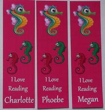 3  PERSONALISED BOOKMARKS,SEA HORSES, I LOVE TO READ.18cm x5cm laminated