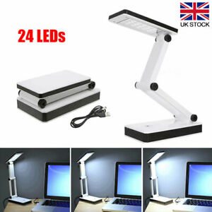 Folding LED Desk Lamp Bright Touch Control Reading Light Portable Compact White