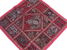 Magenta and Maroon Home Fashion 26 inch Square Floor Indoor Sari Pillow Cover
