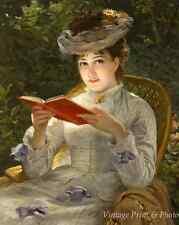 A Summer Beauty - Victorian Art Lady Woman Reading Book Garden 8x10 Print 0681