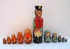 RUSSIAN WOODEN HAND PAINTED BOTTLE HOLDER VODKA WINE MATRYOSHKA +NESTING DOLLS