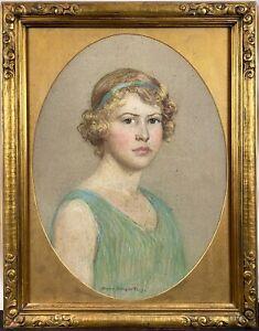 """c. 1925 Sophie Schuyler Dey Impressionist Portrait Woman Flapper """"Roaring 20s"""""""