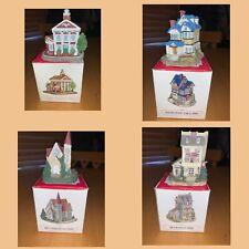 Set Of 4 Liberty Falls Village Miniature Buildings Americana Collection