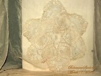 ANTIQUE BEAUTIFUL FRENCH HAND CROCHET COTTON OFF WHITE AS IS DOILIES