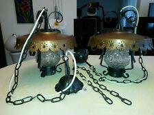 2 Stück Hängelampen schmiedeeisen Bar Landhausstil Bauernstil Rustikal Kupfer