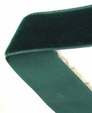 "Vintage velvet ribbon CASH'S green BY THE METRE 22 mm 7/8"" nylon washable SWISS"