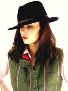 Waistcoat New Ladies Fitted Pink County Girl Tweed & Fedora Wool Felt Hat S M L