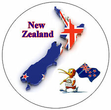 NEW ZEALAND MAP / FLAG - ROUND SOUVENIR FRIDGE MAGNET - NEW - GIFT / XMAS
