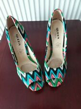 QUEEN - WOMENS MULTI COLOURED/PATTERNED HIGH HEEL SHOES - SIZE 2-2.5