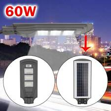 60W LED Wall Street Light Solar Powered PIR Motion Lamp Garden Road Path UK