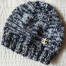BABY BEANIE. HAND-KNITTED. WOOL BABY YARN MIX. DENIM BLUE. SAILOR ANCHOR BUTTON