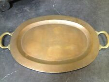 Vintage Oval Brass Tray with Handles
