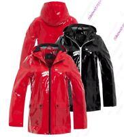 Womens Rain Mac Waterproof Vinyl Patent Raincoat Jacket Size 8 10 12 14 16