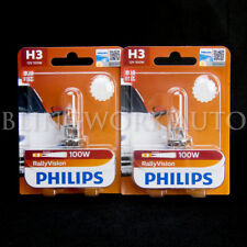 2x Philips H3 Rally Vision Essential Power 12V 100W Halogen Globe Light Bulb
