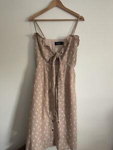 Minkpink Size M/12 'Portofino' Pink Tie Front Midi Dress RRP $80