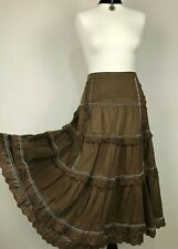 LES COPAINS Brown Skirt 44 Boho Gypsy Prairie Tiered Leg Slit Cotton A Line