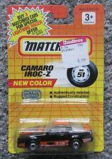 NOC 1/64 MATCHBOX 1991 #51 IROC CAMARO Z28 BLACK ORANGE OPENENING HOOD VTG VHTF